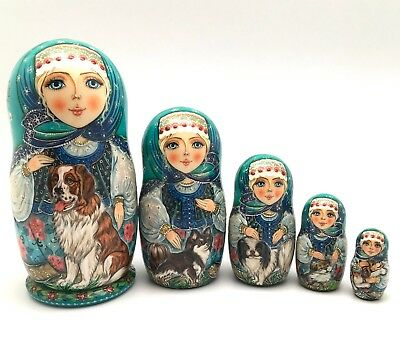 Unique Russian Nesting DOLL Dogs Hand Painted Babushka