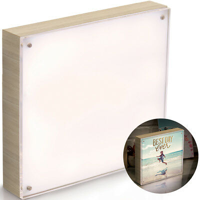 "We R Photolights Backlit Wood Finish W/Acrylic Frame 8""X8"" Natural WR663020"