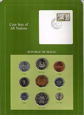 1972-1982 Republic Of Malta Coin Sets Of All Nations (9) Coins