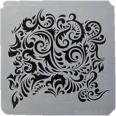 "Istencils 8""X8"" Feathered Damask IS8X8-86781"