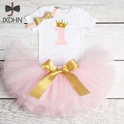 Baby Girls 1st First Birthday Outfit Cake Smash  Pink And Gold Tutu Hairband