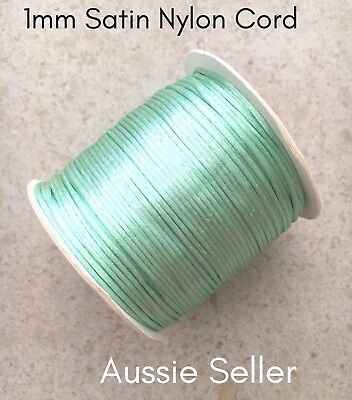20m MINT GREEN satin nylon cord 1mm for DIY silicone keyring rattail jewellery