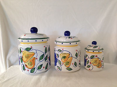 JAY Import  Tuscany  Set of 3 Canisters Canister Fruit Apple Pear Grapes Floral