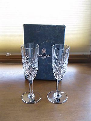 Pair of St. Louis Crystal Champagne Flutes IOB - EXCELLENT