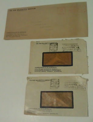 3 x stamped imprints Commonwealth of Australia Jubilee year 1901-1951 envelopes