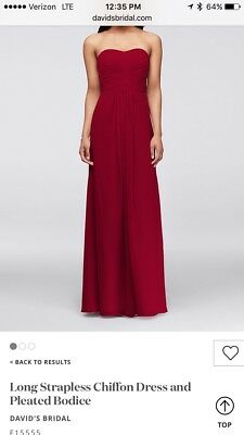3c7e32d6cc95 davids bridal long strapless chiffon dress and pleated bodice in cherry -  size 4