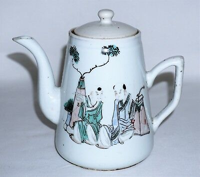 Antique Chinese Famille Rose Verte Porcelain Teapot w Calligraphy