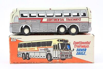 Charmy Toys Vintage Tin Toy Continental Silver Eagle Friction Engine Bus - Japan