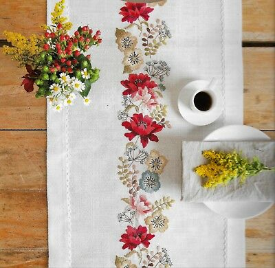 """FIELD OF FLOWERS"" Quality runner KIT to EMBROIDER.Stamped 40x150cm 100% cotton!"