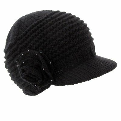 ca115611a KNITTED FLOWER CAP WITH VISOR BILL BY BETMAR - Same Day Shipping - B299