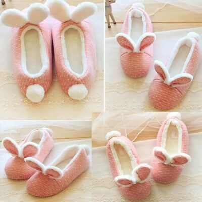 Cute Women Winter Home Bunny Ear Flat Slip-On Slippers Shoes Warm Shoes