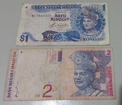Malaysian 1 & 2 Ringgit old paper bank notes