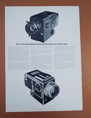 """1969 Hasselblad Camera Original Vintage Print Ad """"took pictures of the moon"""""""