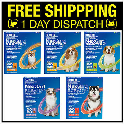 NexGard Spectra For Dogs - Covers Fleas Ticks Worms - 6 Chews All Sizes