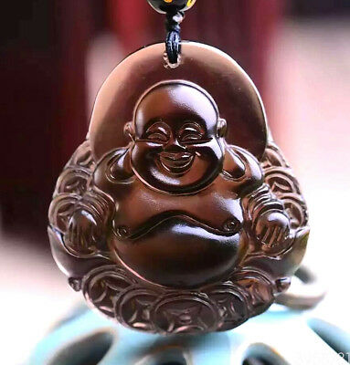 Fine Carved Natural Ice Obsidian Maitreya Buddha Lucky Amulet Pendant Necklace