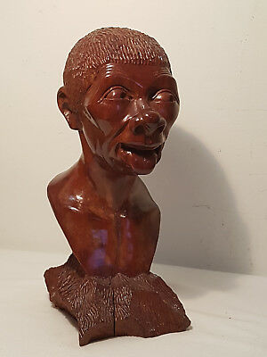 Vintage original Hand Carved SOLID WOOD BUST STATUE Collectible