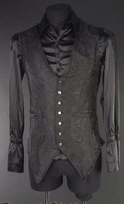 Dracula Clothing Black Brocade Men's Marquis Vest Gothic Victorian-SEE LISTING