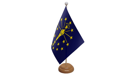 Indiana USA American Table Flag with Wooden Stand