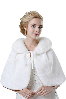 New Bridal Faux Fur Coat Jacket Shawl Wedding Cape Wrap Bolero Scalf Shrug Cloak
