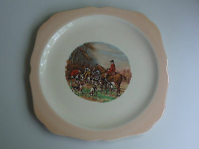 Vintage 1956 Elijah Cotton Lord Nelson Ware England Cake Plate *Hunting Scene