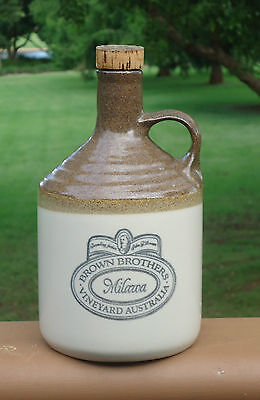 Vintage Brown Brothers Milawa Handled Pottery Decanter Bottle *Brown & Beige