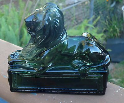 Vintage AVON Dark Green Glass Classic Lion Wild Country After Shave Bottle