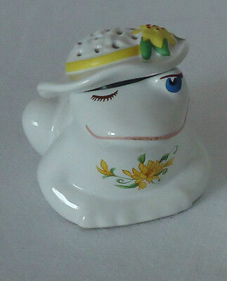 Collectable Vintage 1982 AVON 'Flirty Frog' Pomander *Yellow & Green Lily Decor