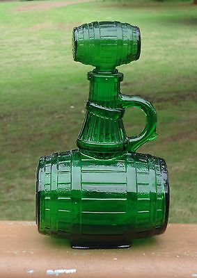 Chatelle Napoleon VSOP Pure French Brandy Green Glass Barrel Decanter & Stopper