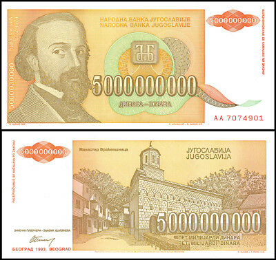 Yugoslavia 5 Billion, 1993, P-135, UNC