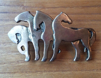 Vintage Horse Horses Hair Barrette Clasp Bronze Made in France