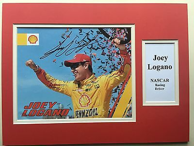 "NASCAR Joey Logano Signed 16"" X 12"" Double Mounted Display"