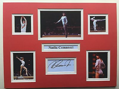 "Gymnastics Nadia Comaneci Signed 16"" X 12"" Double Mounted Display"