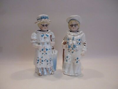 Pair Antique Victorian Nodding Head Porcelain Figurines With Wire Glasses
