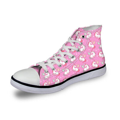 Women Ladies Fashion Canvas Shoes Sneakers Casual Hi-Top Boots Unicorn Pattern