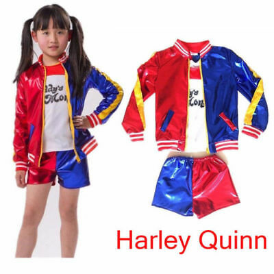 Halloween Kid Girl CosPlay Costume Suicide Squad Harley Quinn Complete Outfit 0a