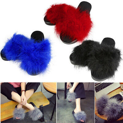 Women's Fur Fluffy Slippers Slides Mules Sandals Feather Home Open Toe Shoes AU