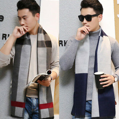 New Men's casual scarves winter Warm cashmere Scarf luxury Brand High Quality
