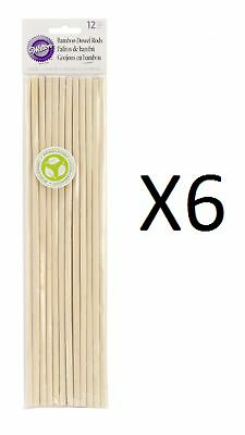 """Wilton Bamboo Dowel Rods 12 Pack 12"""" X 0.25"""" Eco-friendly Resource (6-Pack)"""