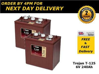 Pair of Trojan T125 Deep Cycle Leisure Batteries, 6V 240Ah - 2 Years Warranty