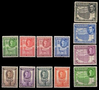 SOMALILAND PROTECTORATE 1938-King George VI Thematic Issues, Set of 12, MNH