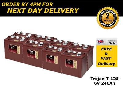 8x Trojan T125 Deep Cycle Golf Batteries 240Ah - 1200 Life Cycles
