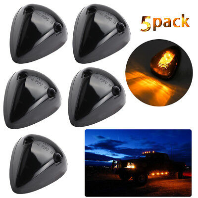 5*Amber 9-Led Light Smoked Lens Cab Roof Top Marker Lamp Clearance Running Light