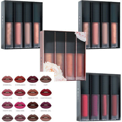 4Pcs/Set Womens Girls BEAUTY Matte Mini Liquid Lipstick Makeup Waterproof Huda
