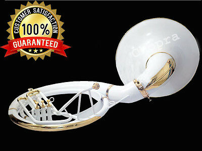 "Sousaphone Painted White 22"" Bb ""Chopra"" 3V  BAG n MOUTH PIECE SHIPPING FAST"