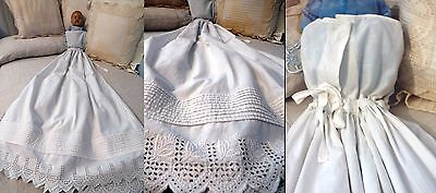 1880s FANCY & RARE BABY LONG  PETTICOAT PINNING BLANKET W HUGE BRODERIE ANGLAISE