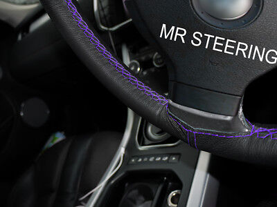 For Volkswagen Fox 04-11 Black Leather Steering Wheel Cover Purple Double Stitch