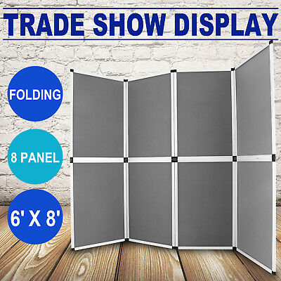 6'x8' Folding 8 Panels Trade Show Display Booth Screen Velcro  Banner Stand