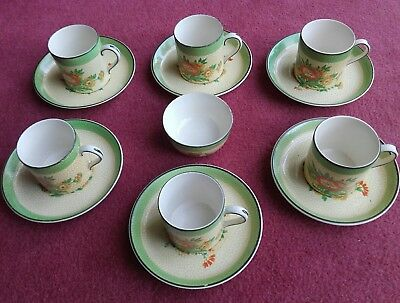 """1930 """"FLORAL"""" 6x COFFEE CUPS,SAUCERS & SUGAR BOWL  By Booths China Tea Set Range"""
