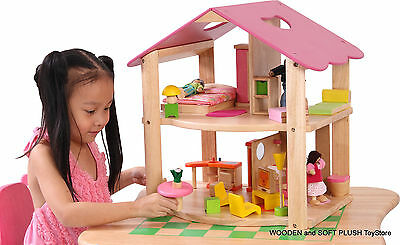 *NEW childs wooden toy PINK DOLL HOUSE + DOLLHOUSE DOLLS FURNITURE pretend PLAY
