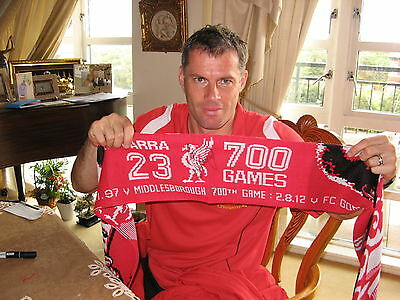Liverpool Jamie Carragher Signed Scarf Commemorating 700 Appearances Very Unique